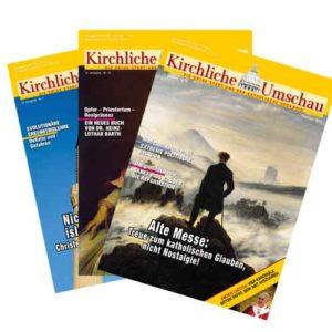 3 Ausgaben der Kirchlichen Umschau als Symbol für Abonnement